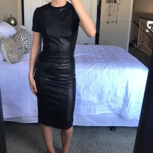 ASOS faux leather paneled midi dress
